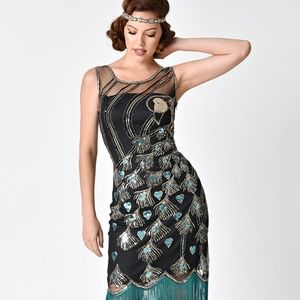 1920s Inspired Beaded Sequin Peacock Flapper Dress